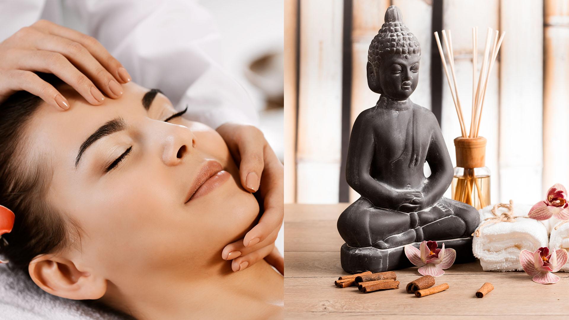 Kopfmassage und Buddha