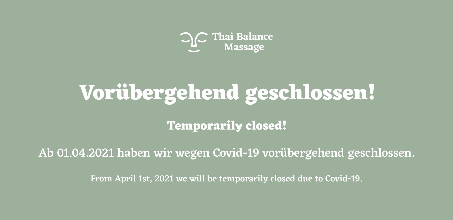 Wegen Covid-19 ab 01.04.2021 vorübergehend geschlossen.